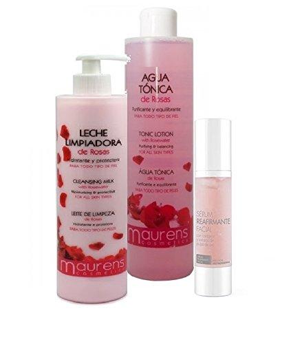 Pack Limpieza Facial Profesional: Tónico Agua de Rosas + Leche Limpiadora de...
