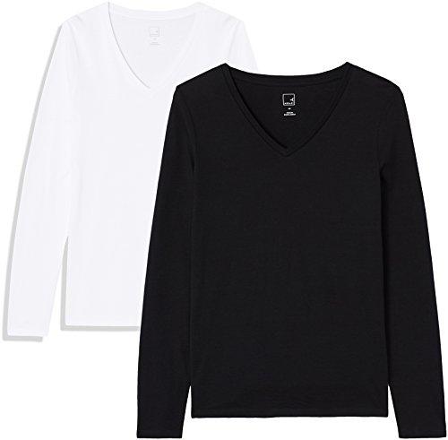 Marca Amazon - MERAKI Camiseta de Manga Larga y Cuello de Pico Mujer, Negro (Black Beauty/White), 38, Label: S
