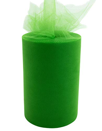 """Tulle Fabric Roll   6"""" by 100 Yards   Polyester Spool for Crafts Decorations Tutu Weddings Costumes Skirts Parties and More – by Craft Forge (Green)"""