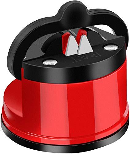 DDMA Afilador De Cuchillos, Lo último En Afilador De Cuchillos con Tecnología De Succión Segura, Afila Y Restaura Cuchillos De Cocina Rectos Y Dentados (Red)