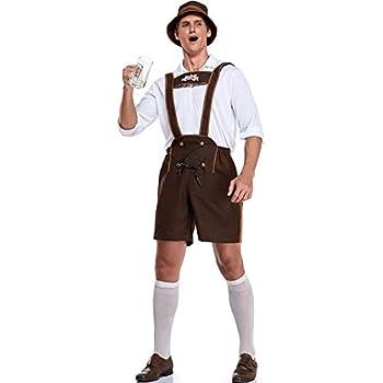Men's German Bavarian Oktoberfest Costume Set for Halloween Dress Up Party and Beer Festival Costume  Brown M