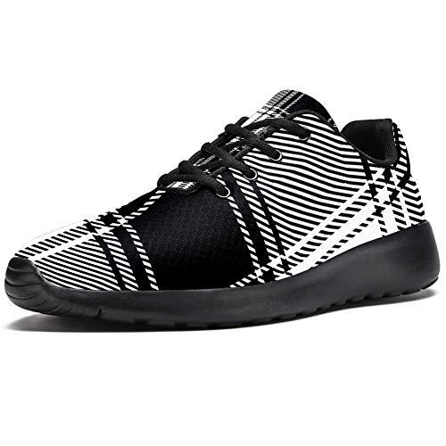 TIZORAX Zapatillas de correr para hombre, a cuadros, color negro y bla