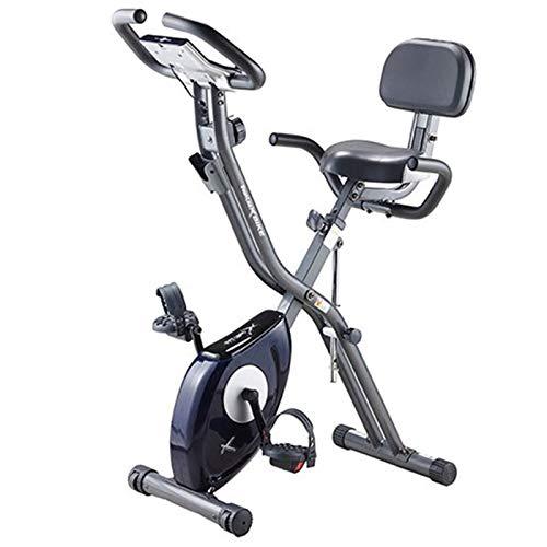 Weiyue Bicicleta de Ejercicio casera X-Bike Bicicleta Plegable Interior silenciosa Equipo de Cardio Fitness con Pantalla LCD y Soporte para iPad y Nivel de Resistencia Ajustable-Negro 68 * 41 * 115cm
