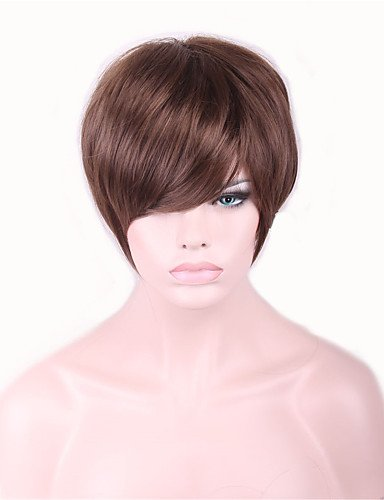 jiayy perucas court marron pelucas perruque pour produits du sexe des femmes noires fourrure synthétique pelucas Snuggle Stuff perruque, 10 inch-brown