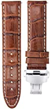 20mm Leather Watch Strap Band Compatible with Baume Mercier Capeland 65726,10106 L/Brown Ws