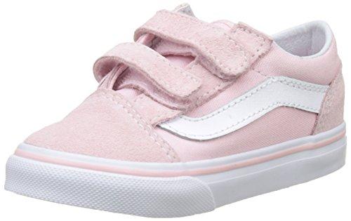 Vans Unisex Baby Old Skool V Sneaker, Pink (Suede/Canvas), 23.5 EU