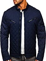 BOLF Men's Quilted Lightweight Bomber Jacket Outerwear Rhomb Urban Casual Style Mix 4D4