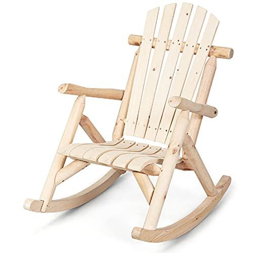 GIANTEX Garten Schaukelstuhl Holz, Schaukelsessel Schwingsessel Relaxsessel Outdoor, Gartenstuhl Relaxstuhl Schwingstuhl Holzstuhl Liegestuhl rustikal für Veranda, Garten, Balkon, Natur