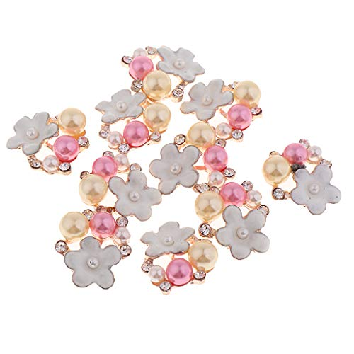 kowaku Botón de Flor de Diamantes de Imitación de Perlas de 10 Piezas para Broche, Joyería para El Cabello, Pendiente DIY - 20x17x5mm
