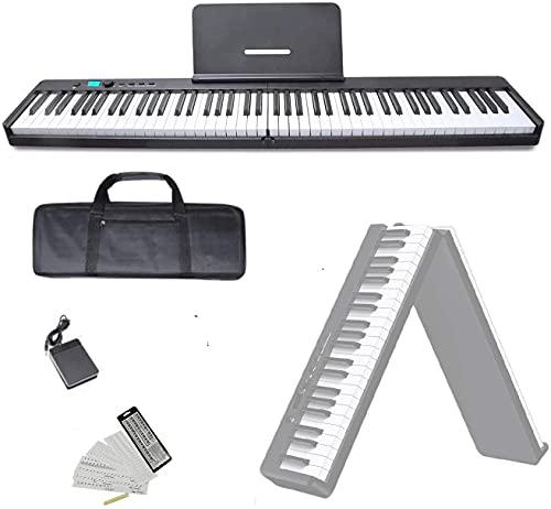 NikoMaku Portable Piano Keyboard 88 Key Electric Keyboard Piano Foldable Midi Light Weight Touch Sensitive Keys Full Size Keys Touch Response sheet Music Stand 128 Rhythms 128 Tones Swan X Black