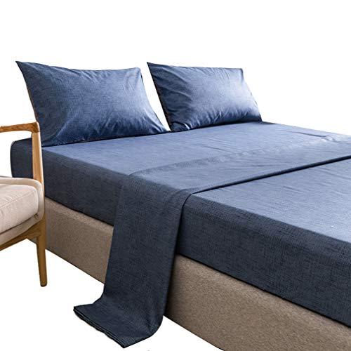 SZ JIAOJIAO Drap - taie de Quatre pièces avec la Texture de Couleur Unie et Imitation Linge de lit en Coton,Bleu,102 * 96 in