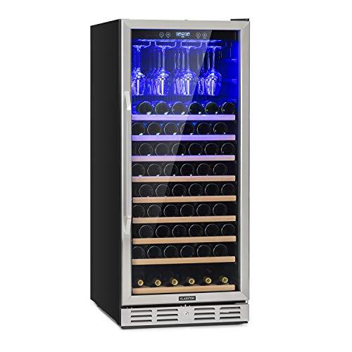 Klarstein Vinovilla 127 nevera de dos zonas, 331 litros, 127 botellas de vino, luces LED, Iluminación interior LED, 5-18 °C, 10 baldas de madera, portacopas, antivibración. Negro