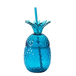 powerful Turquoise pineapple cap with straw lid