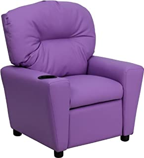 Flash Furniture Contemporary Lavender Vinyl Kids Recliner with Cup Holder, BT-7950-KID-LAV-GG