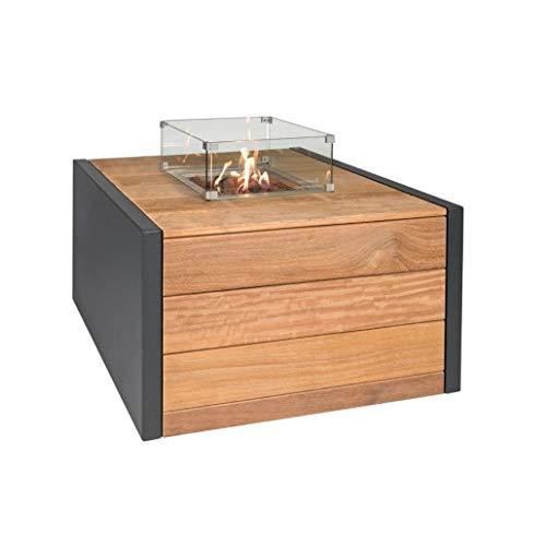 Easyfires Vuurtafel, lak, vierkant, voor open haard, op gas, terras, vierkant, 95 x 95 x 55 cm