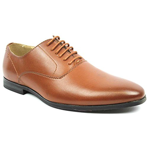 New Men's Round Toe Dotted Dress Shoes Lace up Oxfords By Azar (10 U.S (D) MEDIUM, COGNAC)