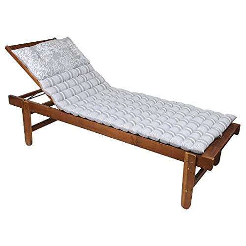 Coussin pour Bain de Soleil matelassé, Gris Clair, 60x190cm, 100% Coton, avec Coussin Repose tête (Transat Non-Inclus)