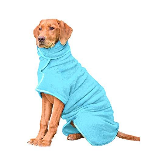 HAPPY HACHI Mikrofaser Hund Bademantel Waschbare Katze Schnell trocknend Badetuch Super Absorbent Pet Coat mit verstellbaren Trägern (L, Himmelblau)
