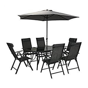 HECTARE Kennet 6 Seater Patio Recling Dining Set Grey