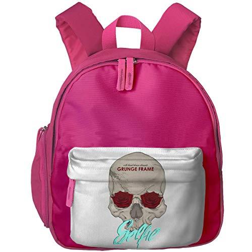 XCNGG Lightweight Kids Preschool Bags Hand Draw Rose Skull Printed Bookbag for Boys/Girls