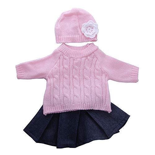 Uteruik Ropa de muñeca para muñeca americana de 46 cm, traje casual – suéter y falda sombrero accesorio de disfraz, 3 piezas (#1)