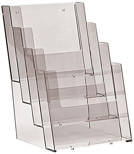 Taymar Broschürenständer mit vier Fächern für Prospekte und Broschüren in Größe A5 2 Stück
