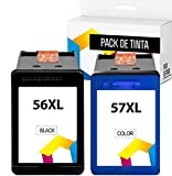 TONER PACK 56 XL 57 XL, Cartuchos de Tinta compatibles para HP 56XL 57XL, HP PSC 1210 1215 1315, Deskjet 5150 5550 450Ci, Photosmart 7350 7660 7760, Officejet 5610 4212 4215 (1 Negro + 1 Tricolor)