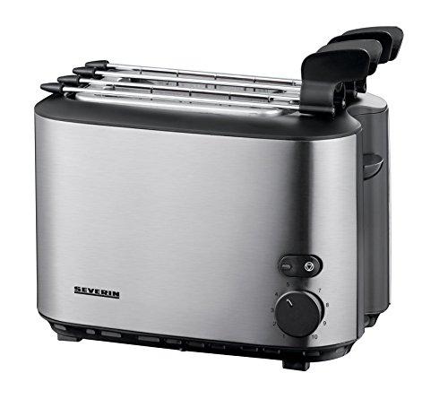 SEVERIN Automatik-Toaster, Inkl. Sandwich-Zangen, 2 Röstkammern, 540 W, AT 2516, Edelstahl/Schwarz