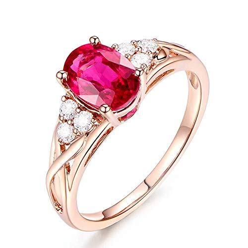 Dreamdge Ring for Woman 18K Rose Gold Oval Ring, Red Tourmaline Ring 1.35ct Size R½