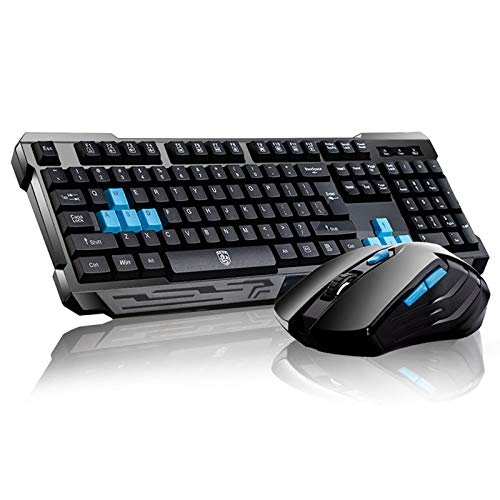 Keyboard Mouse Combos,Soke-Six Waterproof Multimedia 2.4GHz Wireless Gaming Keyboard with USB Cordless Ergonomic Mouse DPI Control For Desktop PC Laptop(Black)