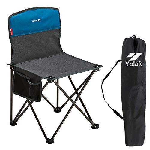 Small Folding Camping Chair Lightweight Seat Portable Stool for Adults Mountaineering Adventure Hiking Fishing Beach Picnic Party Gardening with Carry Bag, Gray
