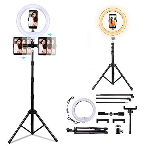 "BNTTEAM LED Ringlight Portable Plegable 12""Maquillaje RingLight Trípode Soporte para Youtube Video, Estudio, Maquillaje, Regulable 3 Modos de luz 10 Nivel de Brillo, Instalación fácil"