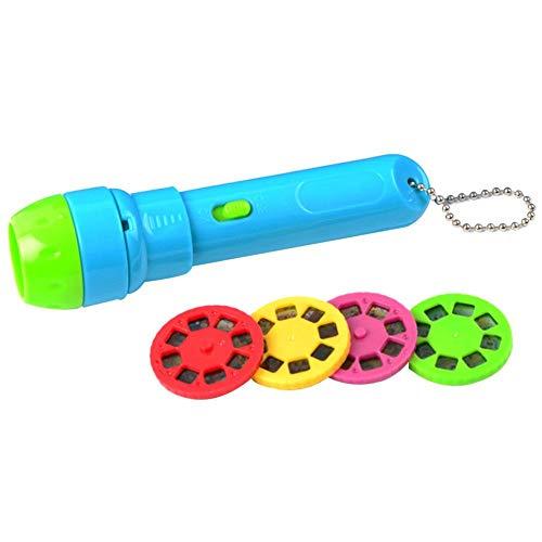 TOMATION Kinder Schlafgeschichten Taschenlampe Leuchtendes Spielzeug, 4 Märchen Filme 32 Folienmuster - große pädagogische Spielzeug Geschenk für Kleinkind/Jungen/Mädchen (eingebaute 3 Batterien)