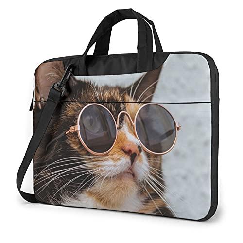 Divertido gato en gafas de sol redondas bolsa para portátil 15.6 pulgadas mujeres hombres elegante con correa portátil bolsa de hombro bolsa de transporte ligero maletín de negocios