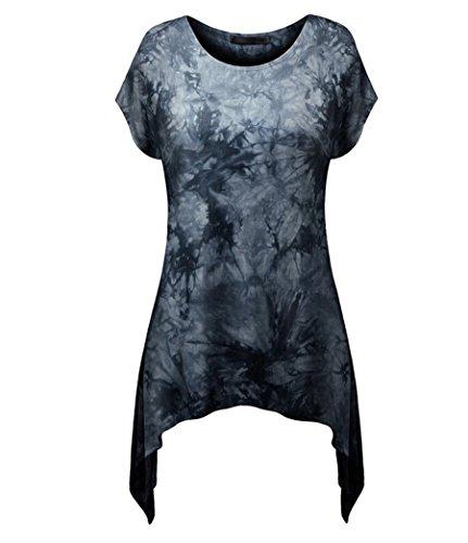 NiSeng Donna Casual Slim Fit Stampa Collo Rotondo Manica Corta T-Shirt Camicia Maglietta Lunga Orlo Irregolare TunicaNero S