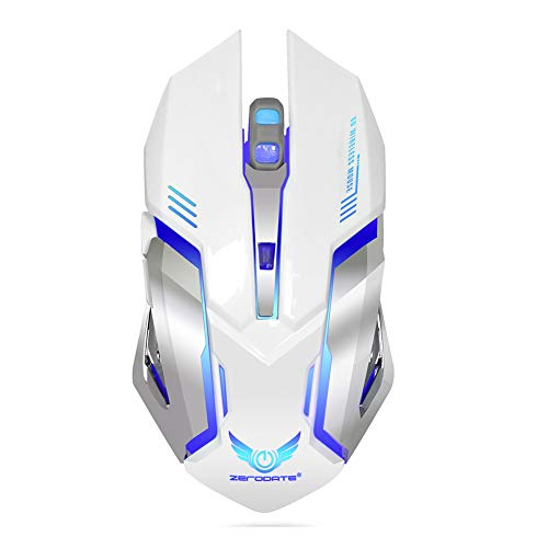 XZYP X70 Wireless Gaming Mouse, 2.4GHz Ergonomic Optical Mouse with 4 Adjustable DPI Options, 5 Buttons and 7 Colors, USB Nano Receiver,White