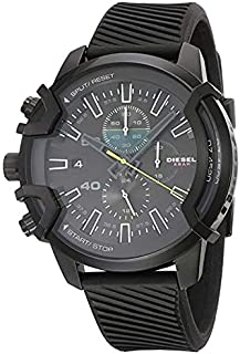 Diesel New Griffed Chronograph 48 MM Black Stainless Steel Silicon Strap Casual Sport Watch For Men-DZ4520