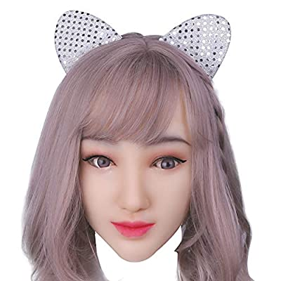 Soft Silicone Realistic Female Head Mask Handmade Face for Crossdresser Transgender Halloween Costumes 1G Ivory White