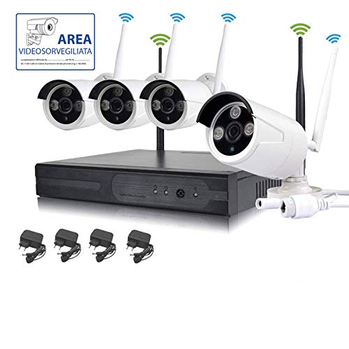 KIT VIDEOSORVEGLIANZA WIRELESS FULL HD IP 4 TELECAMERE 2 MPX WIFI DA...