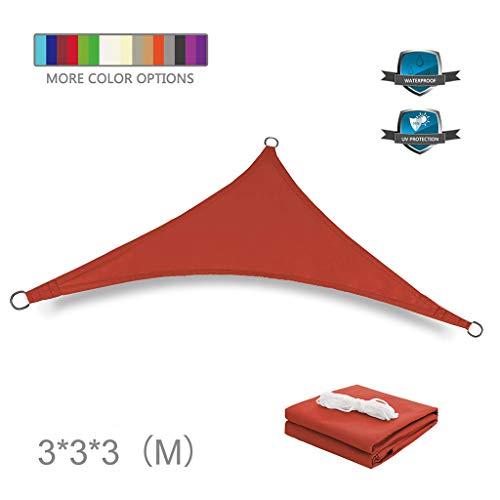 huiingwen Toldo impermeable con bloqueador de rayos UV para patio, bloque de punto de poliéster, pérgola para cochera, triángulo de 9.8 x 9.8 x 9.8 pulgadas en rojo