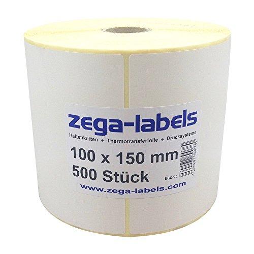 Thermo Etiketten auf Rolle - 100 x 150 mm - 500 Stück je Rolle - Kern: 25 mm - aussen gewickelt - permanent haftend - mit Perforation - Druckverfahren: Thermodirekt (ohne Farbband)