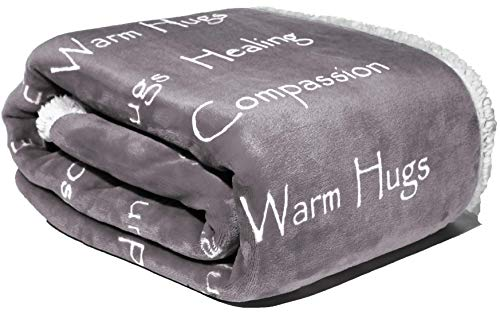 Compassion Blanket - Cancer Gift Blanket Get Well Gifts for Women Men Warm Hugs Healing Thoughts Positive Energy Courage Soft Fluffy Comfort & Caring (50 x 65 Silver Gray)