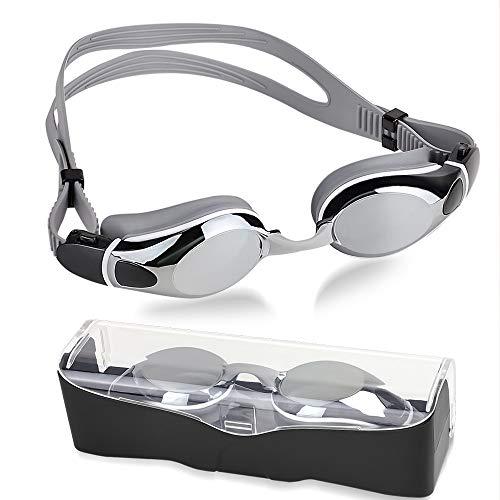 NEUFLY Schwimmbrille, Antibeschlag Spiegelbeschichtete Schwimmbrillen UV-Schutz Verstellbar Gurt Unisex Schwimmbrille für Erwachsene Herren und Damen Jugend Kind - Silber Grau
