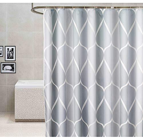 Exporee Duschvorhang 180x200 cm, Wasserdichter Antischimmel Waschbarer Polyester Duschvorhang mit 12 Haken & Gewichteter Saum, Grau