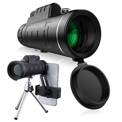 KIXIGO 40x60 HD Monocular Telescope With Tripod Cell Phone Holder Compass for Outdoor Birding Travel Sightseeing Hunting