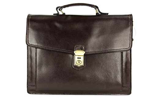 Belli® 'Design Bag D XXL ital. Leder Handtasche Business Bag dunkelbraun - 40x30x12 cm (B...