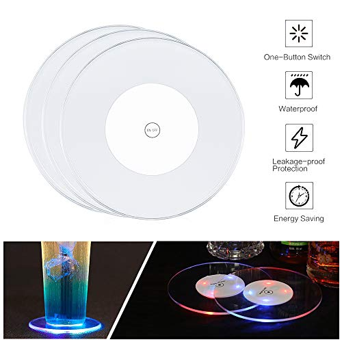 GEECR LED Coasters for Drinks, Light Up Coasters for Bar Beer Beverage, LED Wine Bottle Bar Coasters for Party, Wedding, Bar Decoration(Diameter 3.94 inch/2 Pack)