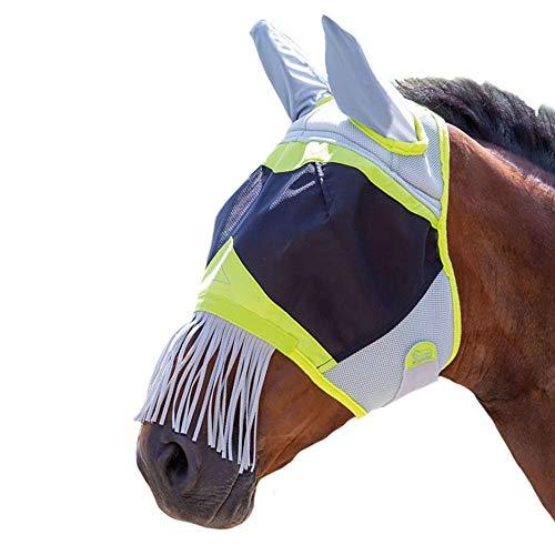Shires Air Motion Fliegenmaske für Pferde/Pony, mit Ohren und Fransen, limettengrün, UV