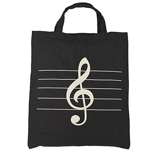 Punk Damen Handtasche, Baumwolle, Einkaufstasche, mit Notenschlüssel, Noten und Musikinstrumente, 36 x 41cm High note black