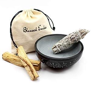 Carved Soapstone Smudge Bowl with White Sage Bundle and 2 Palo Santo Sticks